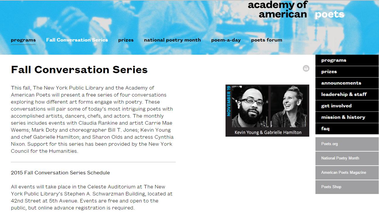 Fall Conversation Series - Poets.org 2015 screenshot