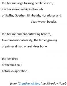 "Snip from poem by Miroslav Holub - ""Creative Writing"""