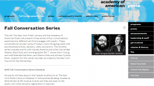 Fall Conversation Series - Poets.org 2015 screenshot